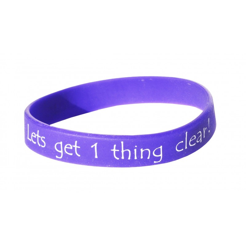 Lets Get One Thing Clear Purple Silicone Wristband (Pack of 1)