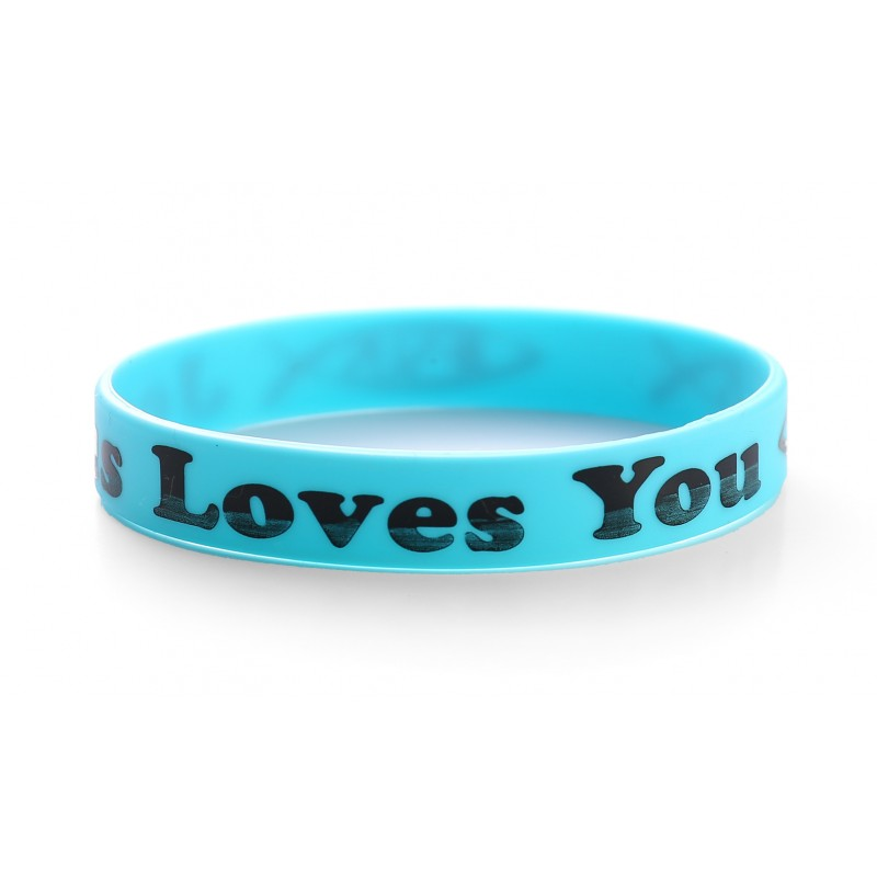 Jesus Loves You Blue Christian Silicone Wristband (Pack of 1)