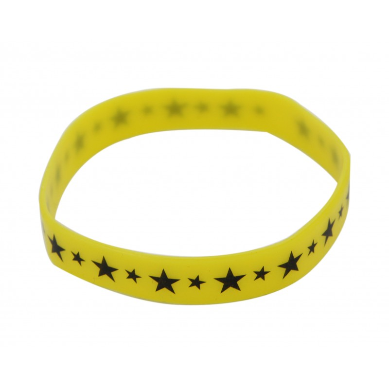 Yellow Star Silicone Wristband