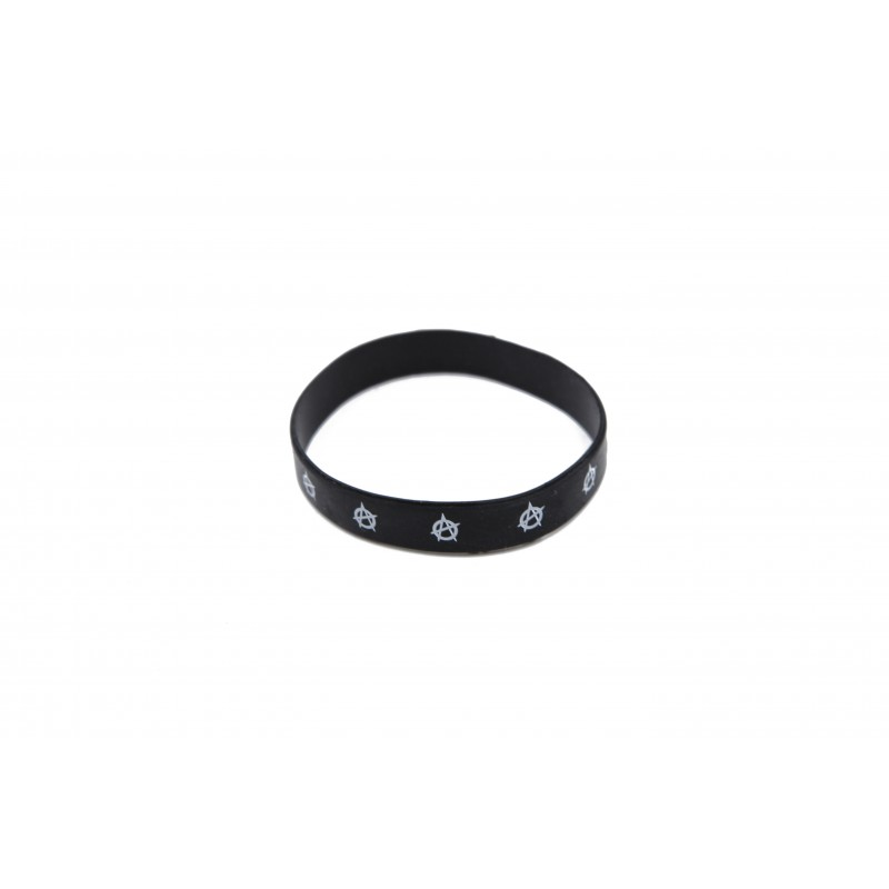Anarchy Black Silicone Wristband (Pack of 1)