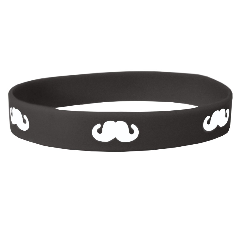 Black Moustache Movember Silicone Wristband