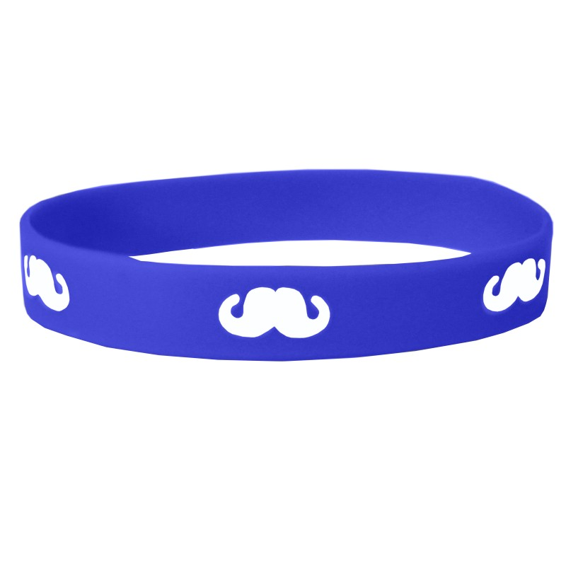 Dark Blue Moustache Movember Silicone Wristband