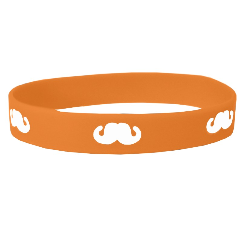 Orange Moustache Movember Silicone Wristband