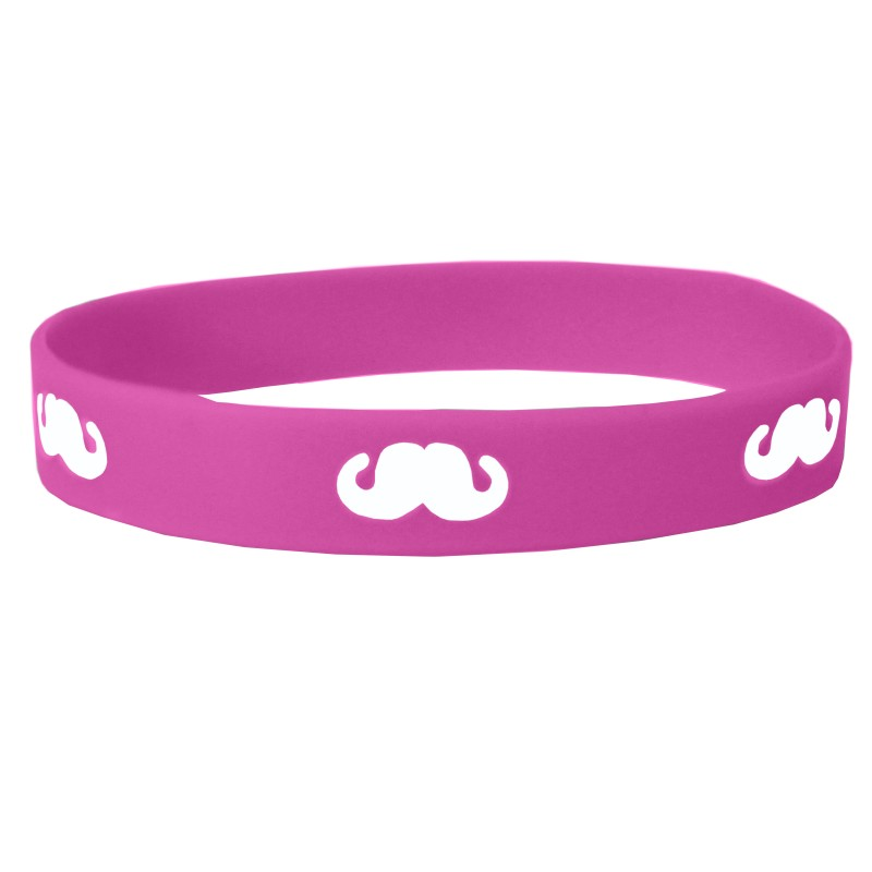 Pink Moustache Movember Silicone Wristband