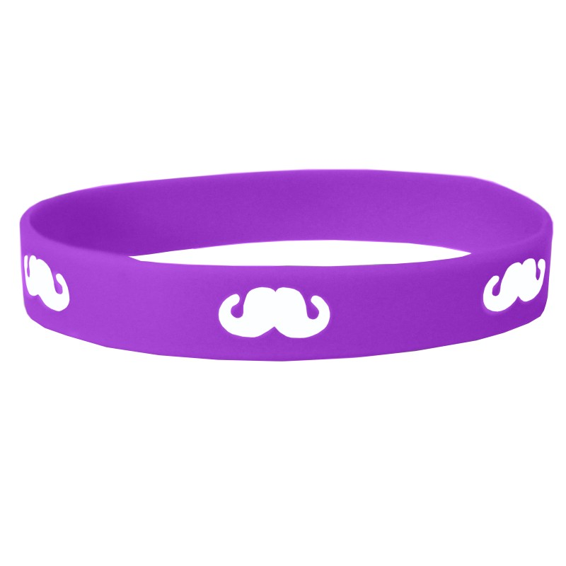 Purple Moustache Movember Silicone Wristband