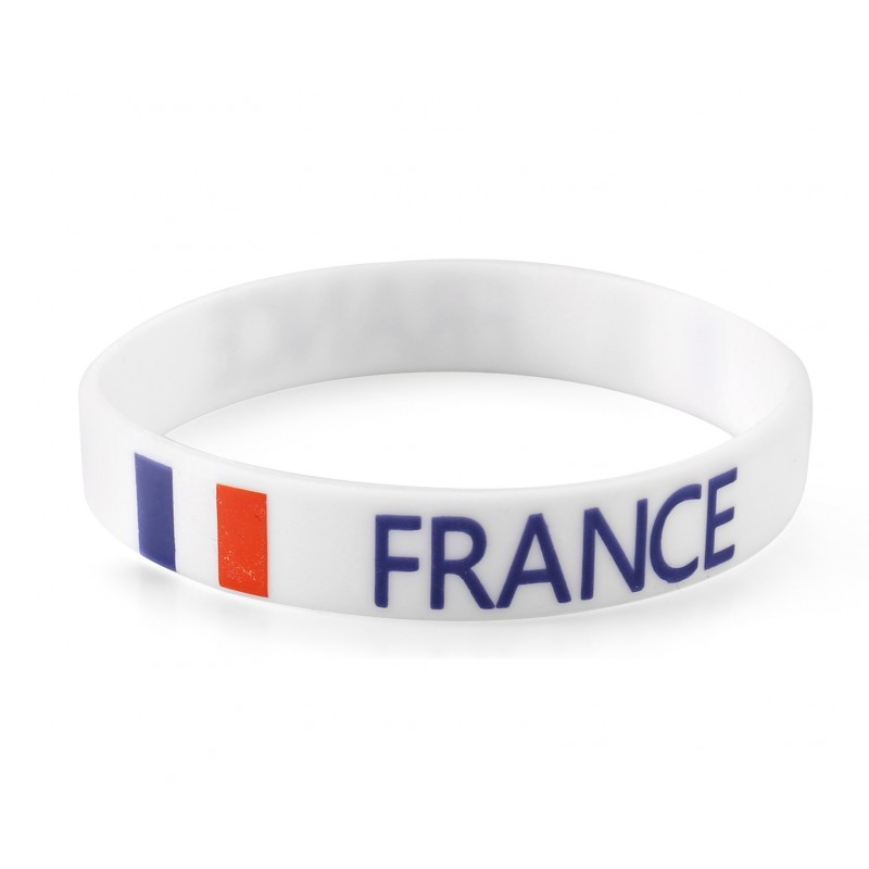France White World Cup Olympics Silicone Wristband (Pack of 1)