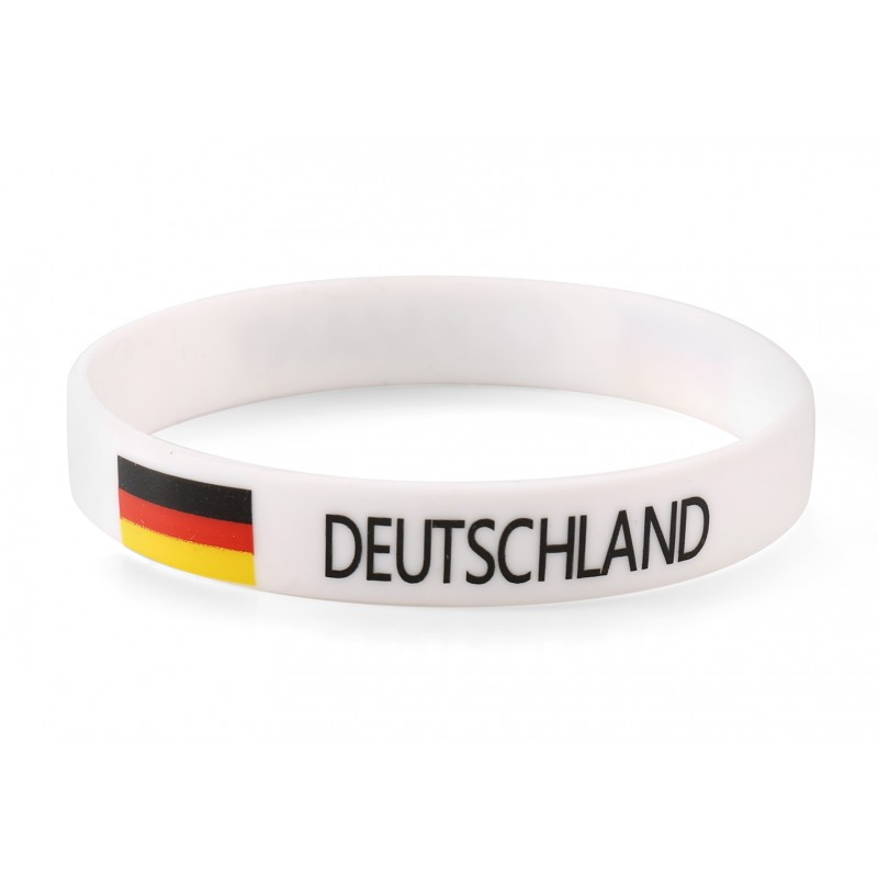 Germany White World Cup Olympics Silicone Wristband (Pack of 1)