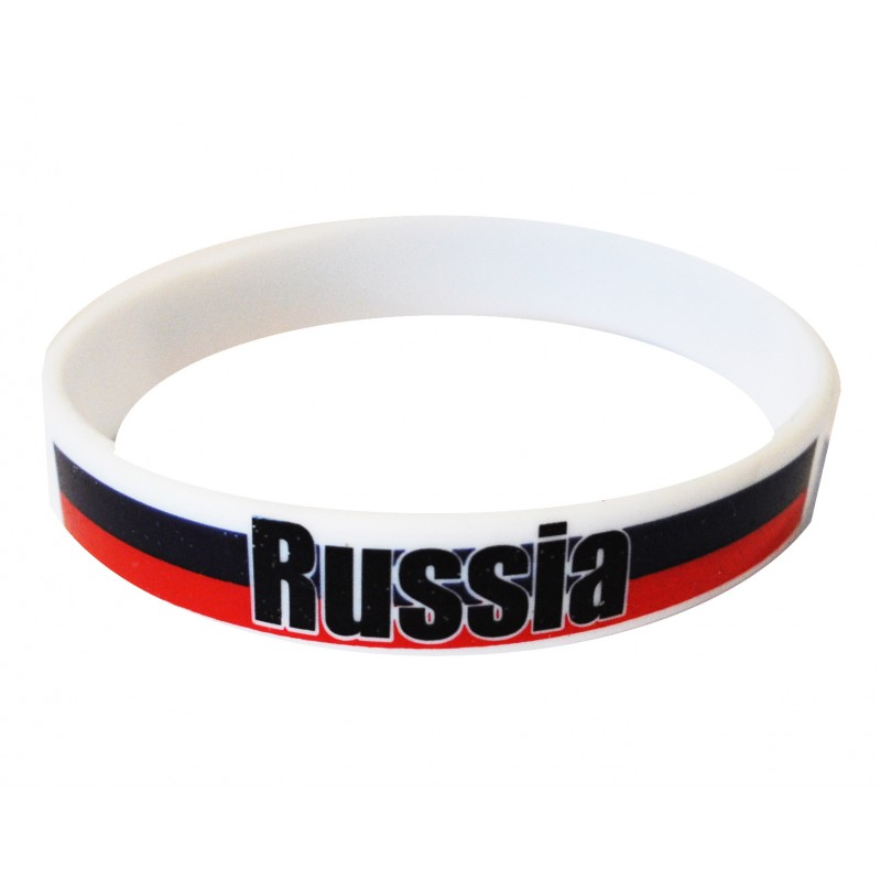 Russia White World Cup Olympics Silicone Wristband (Pack of 1)