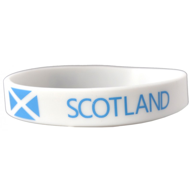 Scotland White World Cup Olympics Silicone Wristband (Pack of 1)