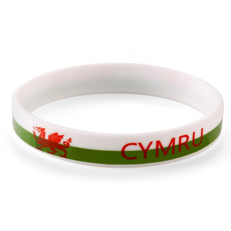 Wales White World Cup Olympics Silicone Wristband (Pack of 1)