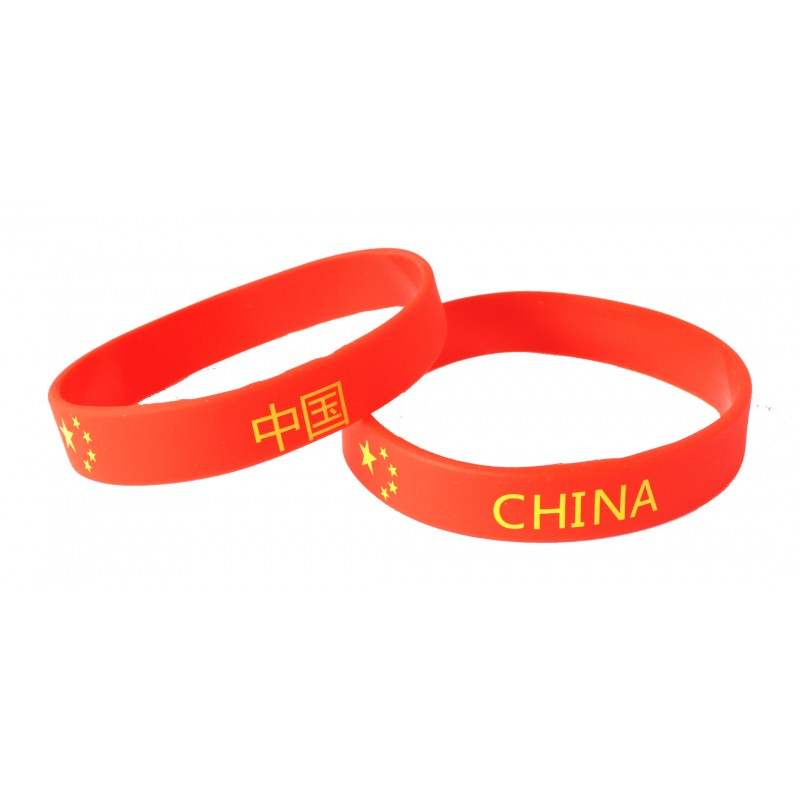 China Red World Cup Olympics Silicone Wristband (Pack of 1)