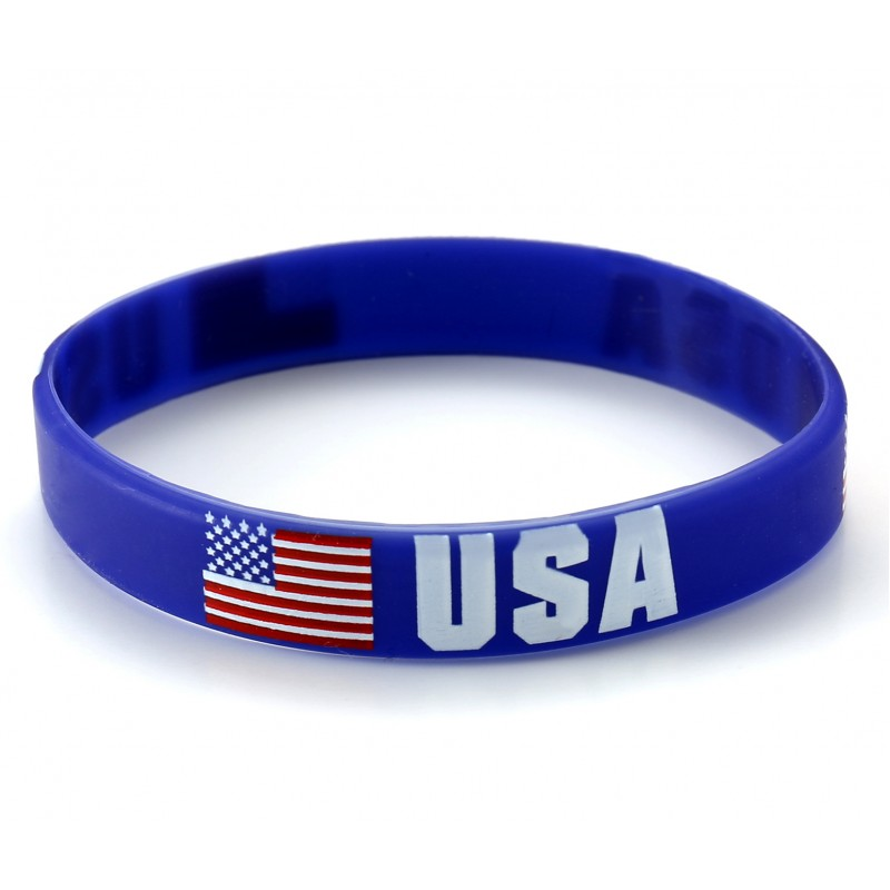 USA Blue World Cup Olympics Silicone Wristband (Pack of 1)
