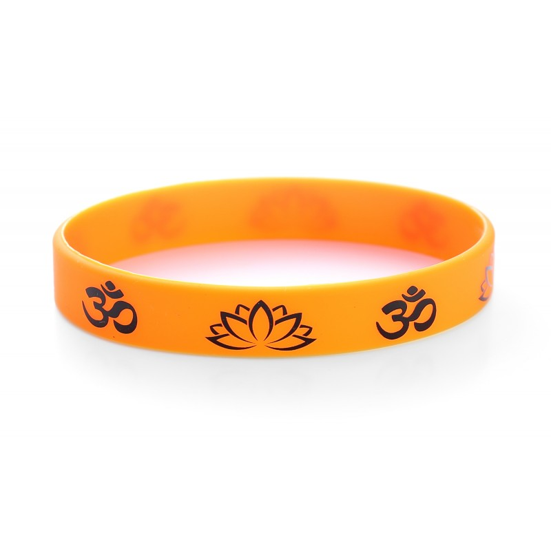 Hindu Om Aum Orange Silicone Wristband (Pack of 1)