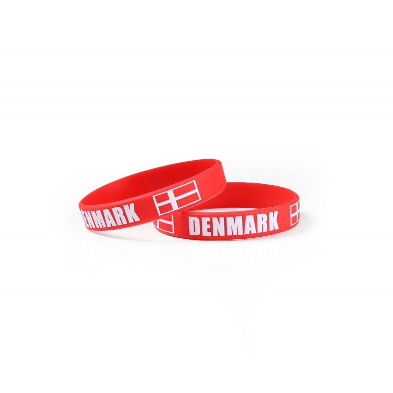 Denmark Red World Cup Olympics Silicone Wristband (Pack of 1)