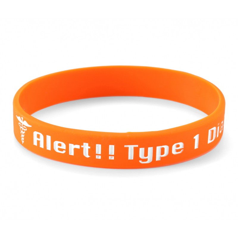 Medical Alert Diabetes Type 1 Orange Silicone Wristband (Pack of 1)