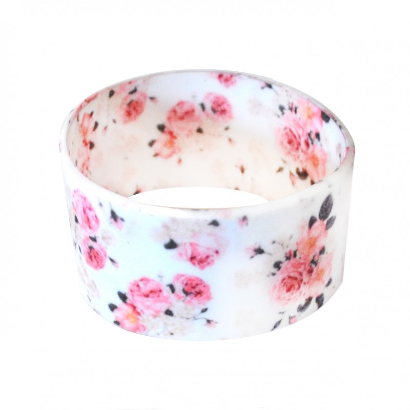 Flower Floral Large Silicone Wristband (Pack of 1)