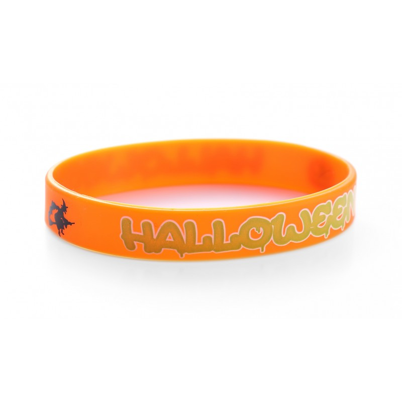 Halloween Trick Or Treat Orange Silicone Wristband (Pack of 1)