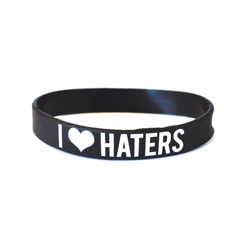 I Love Haters Black Silicone Wristband (Pack of 1)
