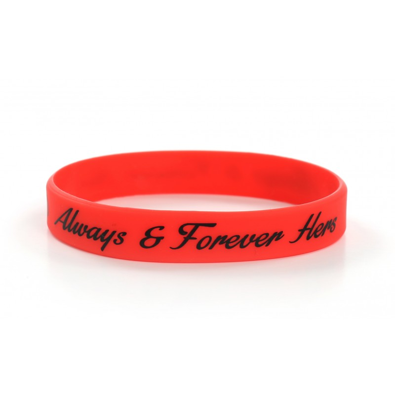 Always and Forever Hers Red Valentines Day Silicone Wristband (Pack of 1)