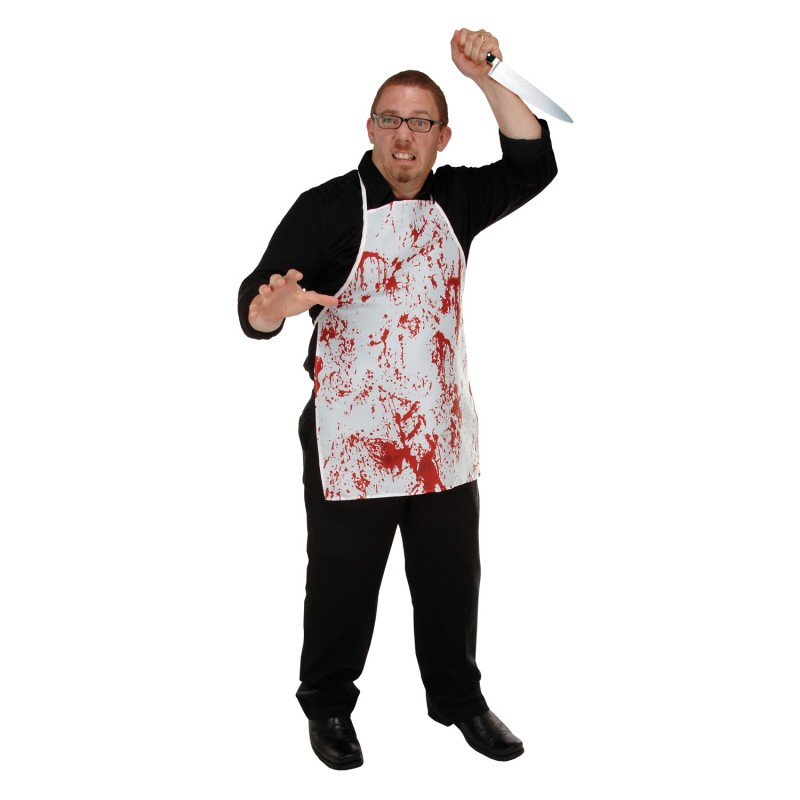 Scary Blood Spatter Novelty Halloween White Butcher Horror Apron